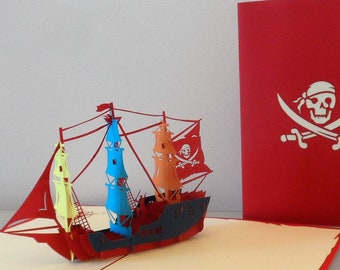 Pirate Ship 3d Pop up Card- Birthday- Blank (sku001)