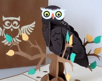 Owl -Wise - Brown -Tawny - 3D - Pop up Card - Birthday - graduation - study (sku162)