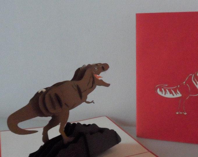 Featured listing image: T Rex - Tyrannosaurus -Dinosaur - 3d - Pop up Card -Birthday (sku175a)