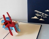 Biplane in the Clouds 3d Pop up Card - blank - retirement- birthday (sku144)