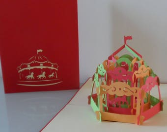 Merry go Round Carousel 3d Pop up Card - Birthday- Children-Get Well-Blank (sku067)