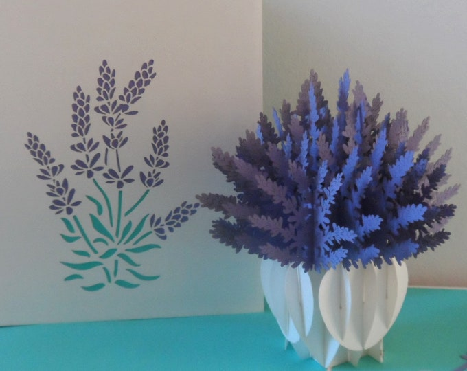 Featured listing image: Lavender Vase 3d - Pop up Card -Mothers Day - Birthday-get well-Thank you (sku052)