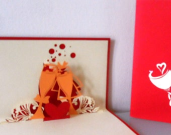 Champagne Celebration  3d Pop up Card Wedding - Engagement- Congratulations (sku012)