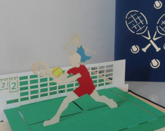 Featured listing image: Tennis Match -  3D - Pop up Card - Blank-Birthday -Retirement (sku125)