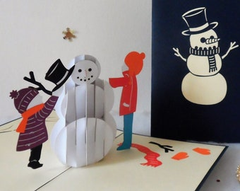 Children making a Snowman - Christmas - Pop up Card - 3D (sku412)