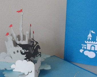 Knight and Castle 3D - Pop up Card -Blank - Birthday (sku112a)