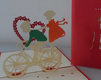 Boy - Girl - Riding - Bicycle - Bike- 3D - Pop up Card - Love - Heart - Engagement - Wedding - (sku026)