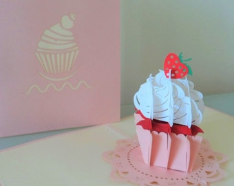 Delicious Cupcake! 3d - Pop up Card - Blank- Birthday- Hen party- Get Well (SkU 044)