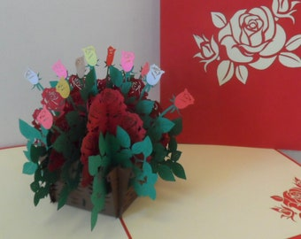 Roses - Basket - 3D - Pop up Card  - Birthday- love - Anniversary - Get Well -Thank You - (sku039)