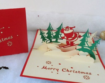 Santa - Skiing - Christmas - Pop up Card - 3D (sku417)