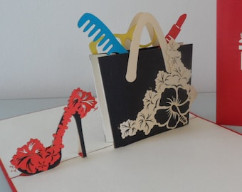 Handbag - High Heels - shoes - lipstick - fashion - 3D - Pop up Card- Mothers Day - Birthday Birthday - Hen Party - Anniversary (sku177)