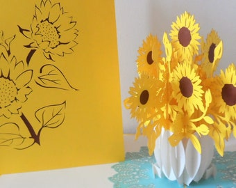 Sunflowers - Sunflower - 3D - Pop up Card -  Birthday - Get Well- (sku072)
