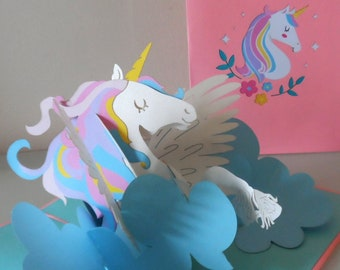 Unicorn - Magical - 3D - Pop up Card -Get well-  Birthday (sku065)