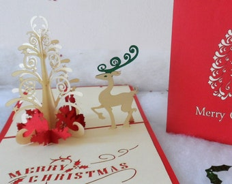 Christmas tree and Reindeer - 3d - Pop up card (sku415)