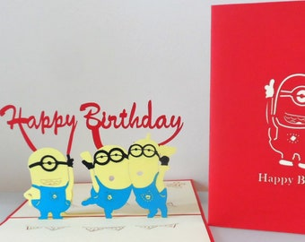 Minions Happy Birthday 3D Pop up Card (sku174)