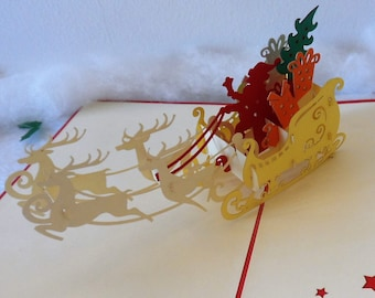 Christmas Eve - Santa - Sleigh -  Presents - Reindeer - Pop up Card - 3D (sku425)