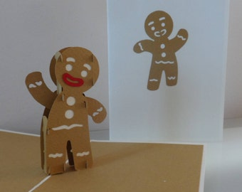 Gingerbread Man Gingy Cookies Biscuits 3d Pop up Card - Mothers Day -blank-birthday- children (sku013)