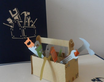 Handy Person Tool Box Kit 3d Pop up Card - birthday - retirement- new home- thank you (sku118)