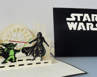 Star Wars - Yoda - Darth Vader - Death Star - light sabre - 3d - Pop up Card -  children - birthday - (sku181)