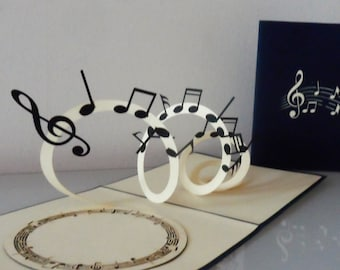 Musical Notes 3D Pop up Card- blank-Birthday- congratulations- prom (sku179)