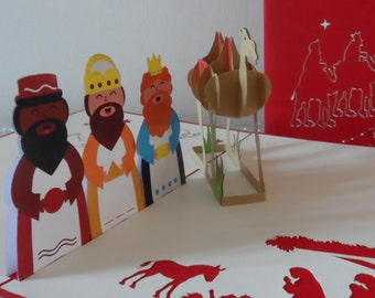 3 Wise Men and Camel childrens Nativity  3d - Pop up Card - Christmas (sku421)