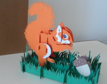 Red Squirrel 3d - Pop up Card - Blank- birthday-get well (sku004)