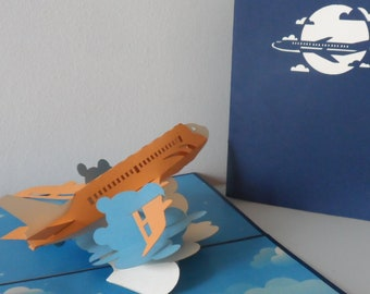 Aircraft - Jet - Plane - Fly- Flight - Pilot - 3d - Pop up Card -  Bon Voyage - Birthday - Holidays - Retirement - (sku167)