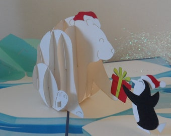 Polar Bear and Penguin swapping Christmas Gifts- 3d - Pop up Card - Christmas (sku422)