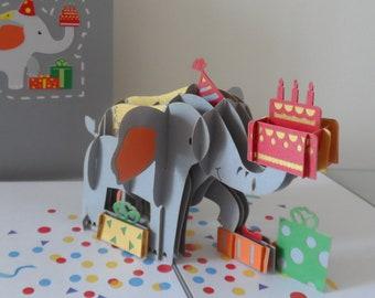 Elephant Celebration Time 3d - Pop up Card - Blank- Birthday - anniversary- Congratulations (sku141)