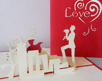 Love - 3D - Pop up Card -Love- Engagement -Proposal- Roses (sku148c)