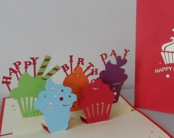 Happy Birthday Cupcakes 3d Pop up Card (sku010a)