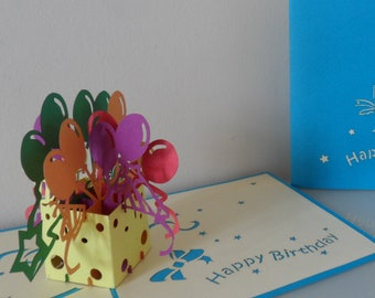 Happy Birthday Box of Balloons 3D - Pop up Card -(sku015)
