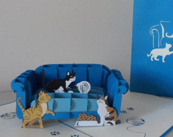 Cats - Cat - Playing on Chair - 3D- Pop up Card -Mothers Day - birthday - (SKU070)
