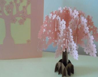 Pink Cherry Blossom Tree 3d - Pop up Card - Blank- Birthday - Anniversary - Get well (SKU145a)