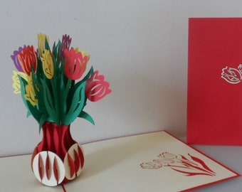 Tulips - 3D - Pop up Card-Mothers Day- Birthday- Get Well- Anniversary(sku024)