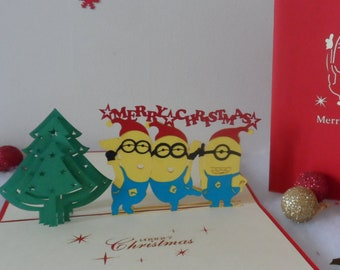 Minions - Christmas - Pop up Card - 3D (sku406)