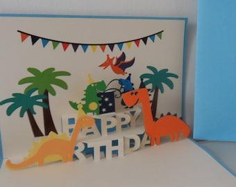 Dinosaurs Happy Birthday - 3d - Pop up Card - Birthday (sku128)
