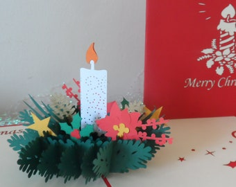 Christmas Candle Decoration 3d - Pop up Card - Christmas (sku413)