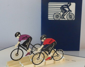 Cyclists Bikers 3d Pop up Card - blank Mothers Day - birthday -congratulations (sku048)