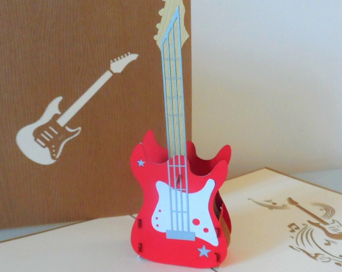 Featured listing image: Electric Guitar 3d - Pop up Card -Blank - Birthday- Good Luck (sku120)