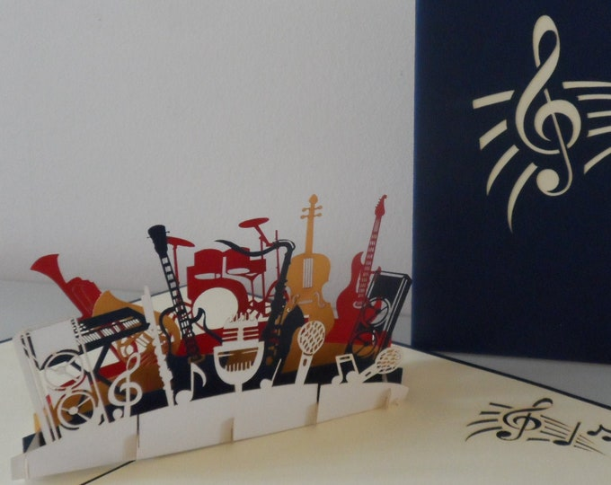 Featured listing image: Orchestra Band Musical Instruments 3d Pop up Card - blank- birthday-congratulations (sku182)