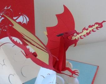 Dragon - Red - 3D - Pop up Card - Welsh Dragon - Smaug - Birthday - 6 nations winners - Good Luck (sku073)