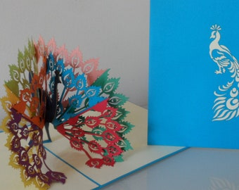 Peacock - bird - 3D -  Pop up Card -Mothers Day - Birthday - Congratulations (sku108)