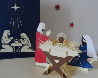 Nativity - Manger - Baby Jesus - Christmas - Pop up Card - 3D (sku402)