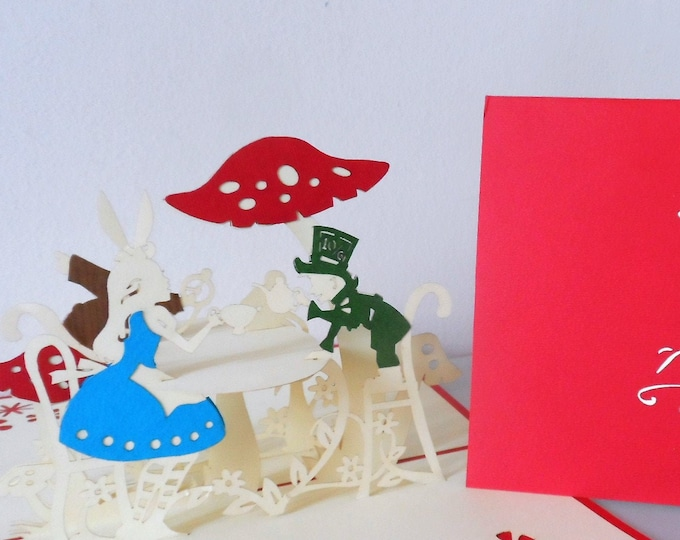 Featured listing image: Alice in Wonderland -Mad Hatters Tea Party -3d - Pop up Card  -Birthday-Get Well-Hen Party -SKU(106)
