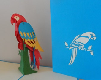 Parrot - 3D Pop up Card- blank- birthday - retirement  (sku046)