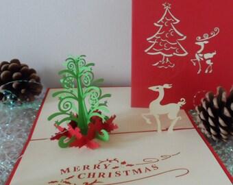 Christmas tree and Reindeer - 3d - Pop up card (sku415)