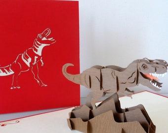 T-Rex Dinosaur Pop up Card-blank-birthday-children- (sku175)