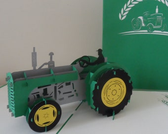 Tractor - Farm - John Deere - 3D - Pop up Card-Fathers Day - Birthday - retirement-  (sku136)