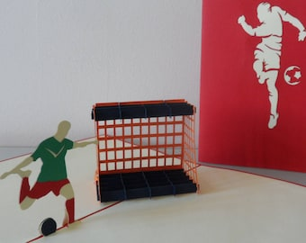 Footballer 3d Pop up Card-  Birthday - Well Done - Congratulations Blank (sku032)